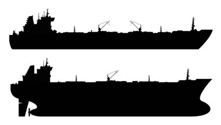 Set of 2 oil tankers isolated white background.