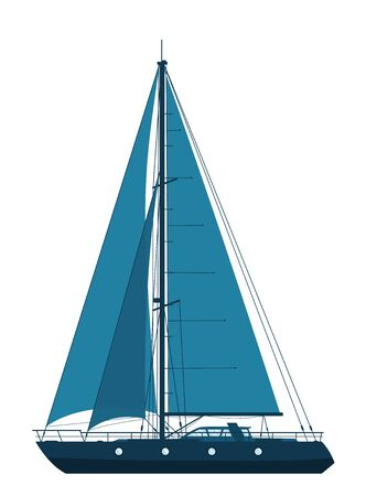 Blue sailing yacht isolated on white background. 免版税图像