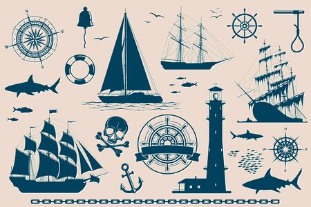 Set of nautical design elements, sailing ships, yachts, wind roses and skull.