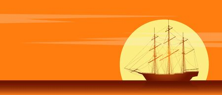 Old sailing ship silhouette. Landscape with old sailing ship in the sea