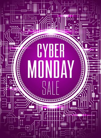 Cyber monday sale design template. Futuristic chipset technology background. Purple cybermonday banner. Vector illustration.