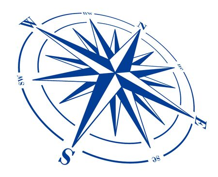 Compass rose isolated on white. Blue raster windrose illustration.