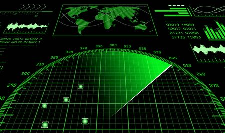 Blue radar screen with futuristic user interface HUD and digital world map. Infographic design elements. Raster Illustration.