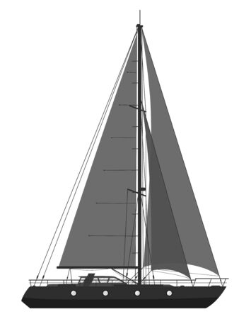 Blue sailing yacht isolated on white background. Raster.