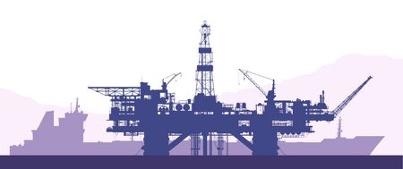 Sea offshore oil drilling rig and tanker silhouettes. Raster Illustration.