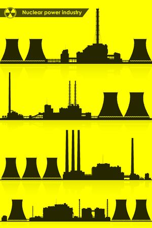 Silhouettes of nuclear power plants isolated on white background. Raster illustration.