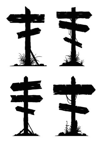 Wooden billboard banners, directional signboards and pointing guideposts. Raster silhouette elements. 免版税图像