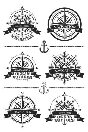 Nautical logos with windrose and steering wheel vector 矢量图像