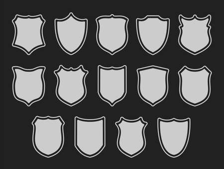 Set of shields isolated on dark grey 矢量图像