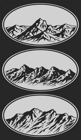 Set of handdrawn mountain range silhouettes. Vector