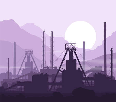 Mineral fertilizers plant over violet mountains. Vector 矢量图像