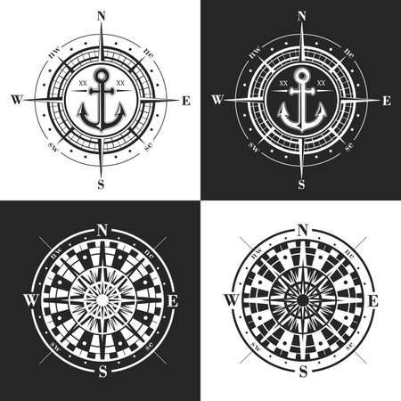 Set of vector compass roses or windroses