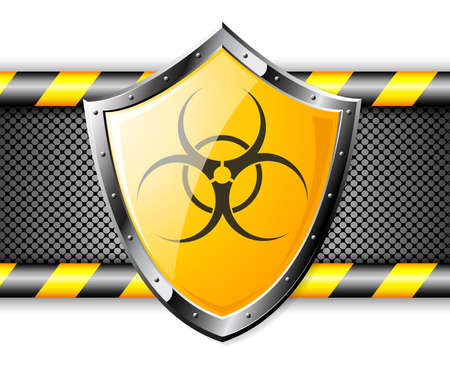 Gold shield with Biohazard sign over steel background