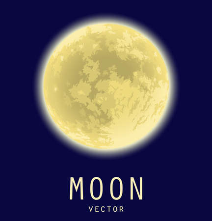 Full yellow moon over dark blue sky. Vector 矢量图像