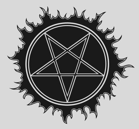 Pentagram vector icon on black star
