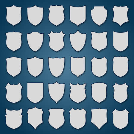 Set of blank shields on blue