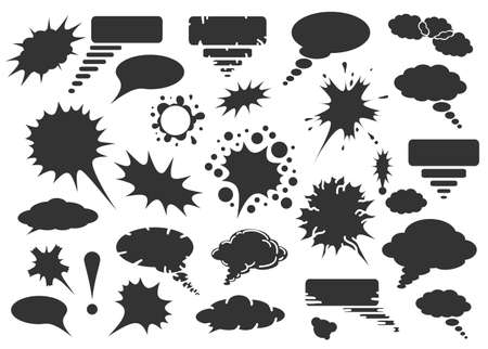 Comic hand drawn speech bubbles vector set