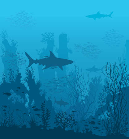 Blue underwater landscape with sharks and coral reefs