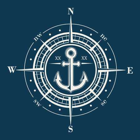 Compass rose or windrose emblem with anchor