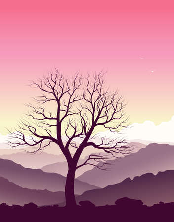 Purple mountain landscape with huge old tree