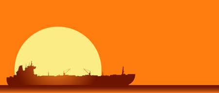Huge crude oil tanker in the sea. Vector Landscape