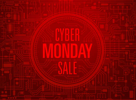 Cyber monday sale red banner. Vector illustration