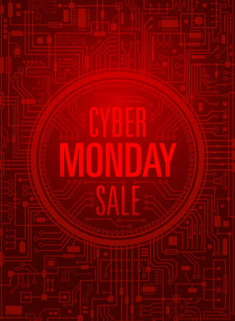 Cyber monday sale vertical red banner. Vector illustration