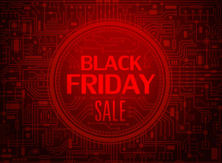 Black friday sale red banner. Vector illustration.
