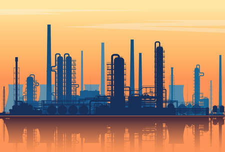 Oil refinery silhouette on sunset background. Vector illustration. 矢量图像