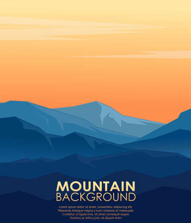Landscape with silhouettes of blue mountains. Vector