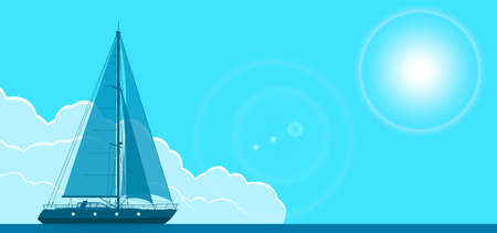 Blue sailing yacht vector flyer horizontal illustration
