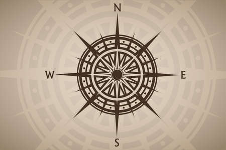 Compass rose or wind rose on brown vintage background Vektorgrafik