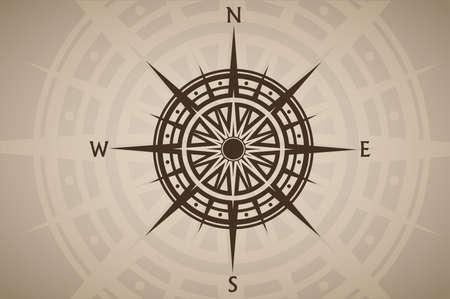 Compass rose or wind rose on brown vintage background Vektoros illusztráció