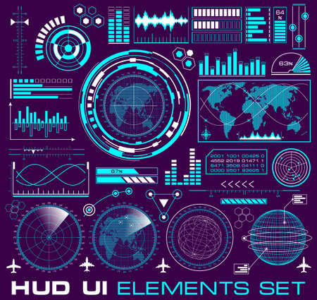 HUD elements. Set of futuristic graphic user interface