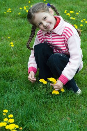 little girl playing with dandelions photo