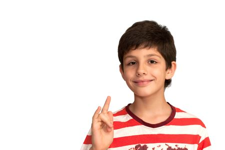 making music: A smart boy is making music gesture with his right hand