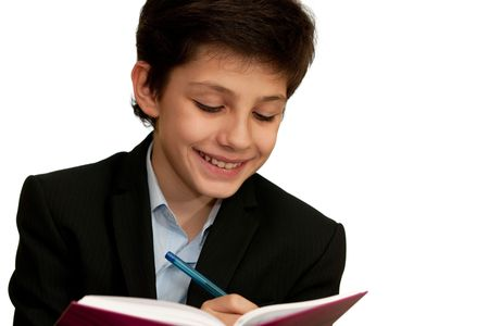 diligent: A diligent student is studying with a smile