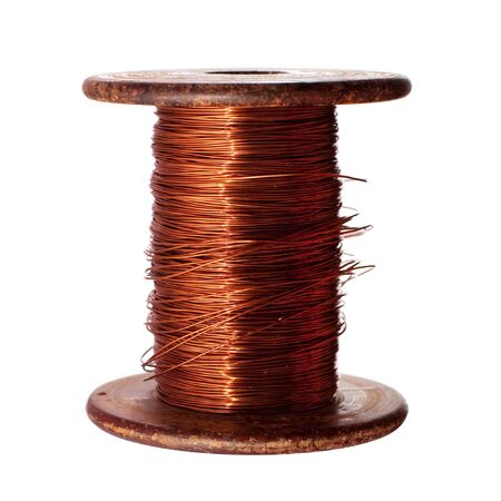 A roll of copper wire; isolated on the white background photo