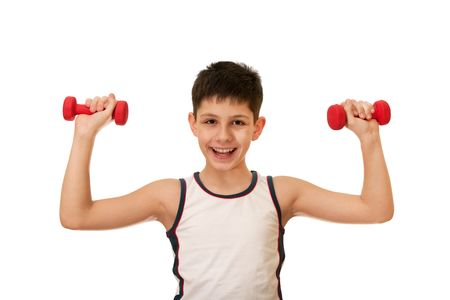 phisical: A boy is doing his morning exercises; isolated on the white background Stock Photo