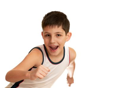 A kid is running; isolated on the white background photo
