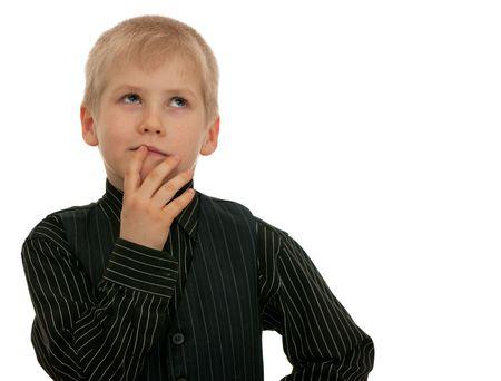 bambini pensierosi: Un ritratto di un ragazzo riflessivo; isolato su sfondo bianco Archivio Fotografico