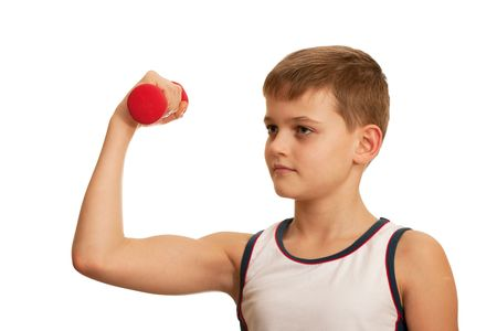 phisical: A kid is doing his morning exercises; isolated on the white background
