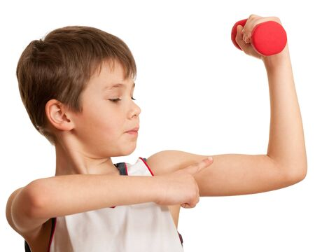 barbel: A boy is doing his morning exercises; isolated on the white background Stock Photo