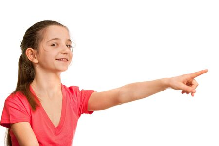 eleven: A pretty girl in red is pointing forward; isolated on the white background