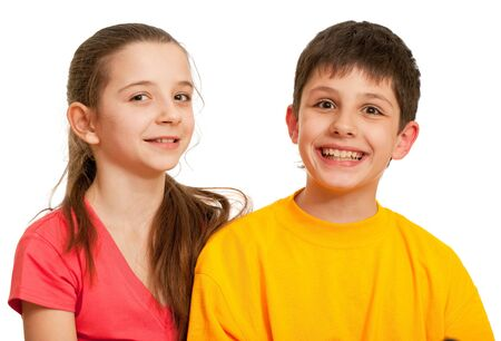 two boys: A boy and a pretty girl are laughing; isolated on the white background