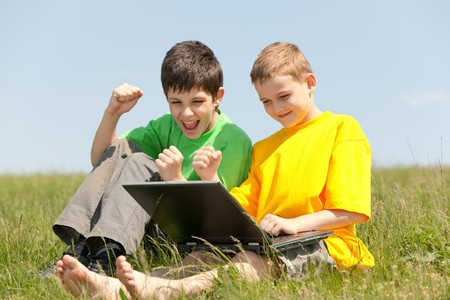 Two boys has got a victory and show their feelings about it photo