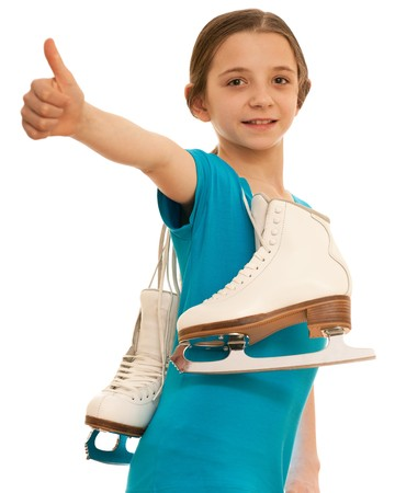A successful girl with a pair of white figure skates; isolated on the white background photo