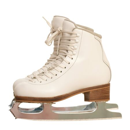 figure skates: A pair of white girl figure skates; isolated on the white background