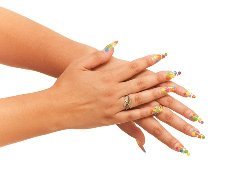 Two woman hands; isolated on the white background photo