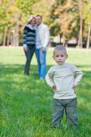 misunderstanding: A little boy is upset because of misunderstanding from his parents